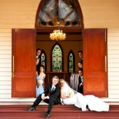 Bridal party in front of chapel
