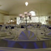 Dining table prepared for wedding reception