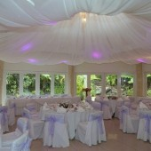 Fabric ceiling decoration at wedding reception