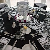 Table settings for wedding reception